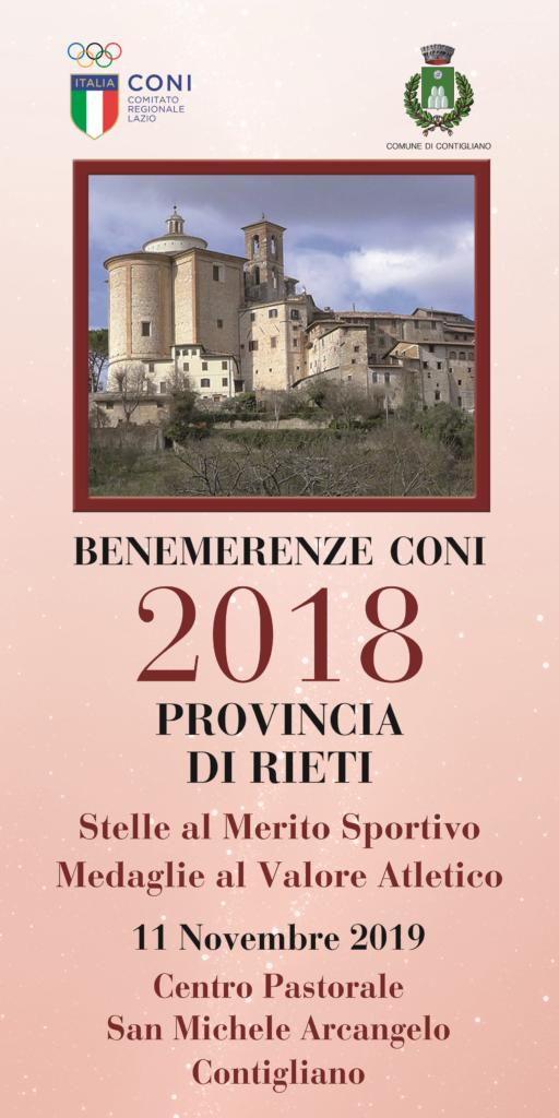 BENEMERENZE CONI 2018 PROVINCIA DI RIETI