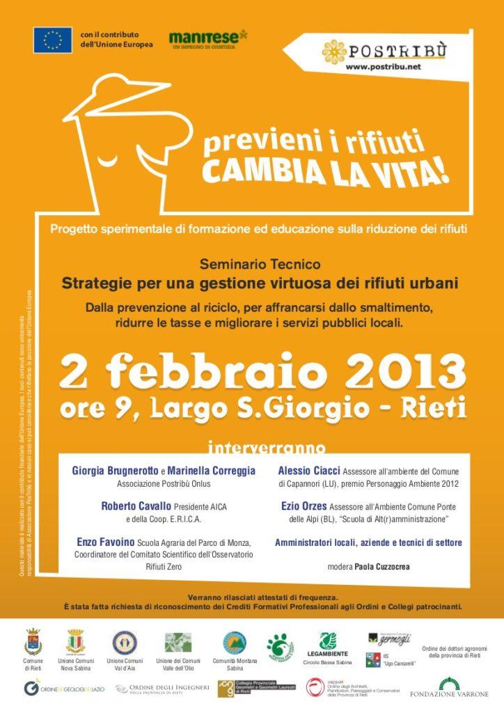 Biblioteca Officine Varrone, Largo S.Giorgio, Rieti – 2 febbraio 2013 – Seminario Tecnico
