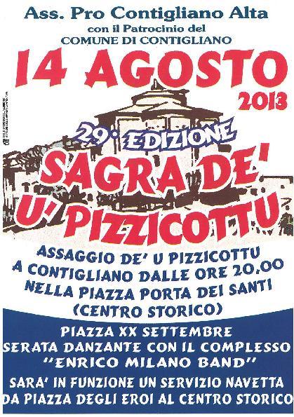 SAGRA DE' U' PIZZICOTTU – 14 AGOSTO 2013 ORE 20,00